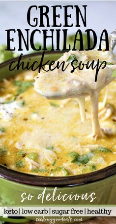Green Enchilada Chicken Soup (Slow Cooker & Instant Pot) The BEST soup recipe! Creamy green enchiladas chicken soup is so tasty and easy to make in the slow cooker or Instant. Mexican Soup Recipes, Best Soup Recipes, Crockpot Recipes, Cooking Recipes, Chicken Recipes, Healthy Recipes, Keto Recipes, Best Chicken Soup Recipe, Dessert Recipes