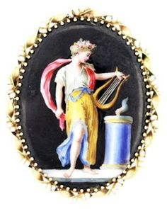 Limoges Portrait & Seed Pearl Pin