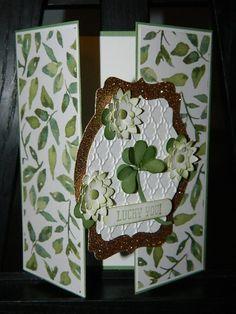 Gate Fold, gatefold, Shamrock punch art, St. Patrick's Day, card making A gate fold card for St. Patrick's Day!