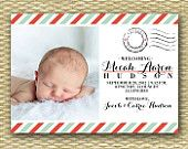 vintage postcard style birth announcement - Google Search