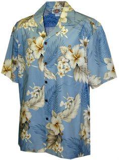 Pacific Legend Tropical Floral Hibiscus and Plumeria Hawaiian Shirt (S b52c3fd37