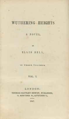 Chapter Twenty-Six. The original title page of Wuthering Heights (1847).