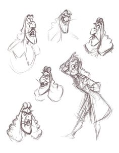 Captain Hook animation drawings by Frank Thomas from Peter Pan: A Sketchbook Series