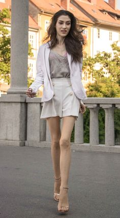 5779371a8e20 Slovenian Fashion Blogger Veronika Lipar of Brunette from Wall dressed in  white short suit
