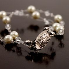 Illusion Set Pearls and Crystals Jewelry - Bracelet Only
