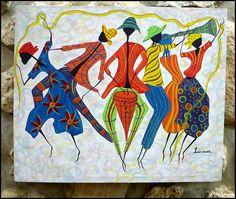 Colorful Haitian Women Dancing  Original by TropicAccents on Etsy, $39.95   Haitian Art  #Haiti