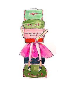 Travel Art Print: Suitcase Stack