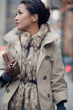 Street style fashion / karen cox. warm fuzzies - fur vest under trench coat for street style