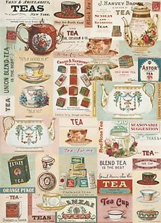 Cavallini Vintage Tea Wrapping Paper...would be amazing in a kitchen as wallpaper