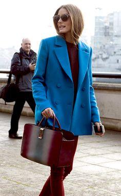 Olivia Palermo // aqua blue blazer