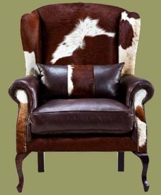 Nguni Hide Wing Back Chair-Office Chair