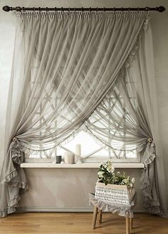 Overlapping Sheer Curtains Diy Beaded Tiebacks Champagne