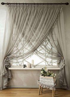 Overlapping Sheer Curtains DIY Beaded Tiebacks Champagne Ivory Cream White Bohemian Beachy