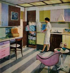 """""""Washdays are sure to be sunny in this colorful laundry. While washer and dryer take over, you can catch up with a favorite TV program or settle down to desk work. Soiled clothing is sorted into hamper baskets to match washer settings.""""    -- """"The American Home""""  April 1959"""