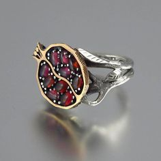 POMEGRANATE garnet 14K gold and silver ring by WingedLion on Etsy, $755.00