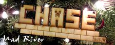 Minecraft Christmas Ornament customized with any word or name at madriverlaser.com My son LOVES his!!
