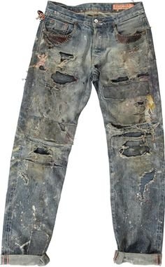 Patchwork Jeans, Denim Fabric, Repair Jeans, Denim Art, Men's Denim, Punk Outfits, Destroyed Jeans, Denim Crafts, Vintage Denim