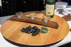 A unique piece made from a reclaimed red wine barrel. Available in Natural, Red Mahogany, or Dark Walnut. Makes a beautiful centerpiece. Great housewarming or wedding gift. Check out our entire line of trays & platters Serving Tray Wood, Lazy Susan, Dark Walnut, American Made, House Warming, Red Wine, Barrel, Christmas Gifts, January 15