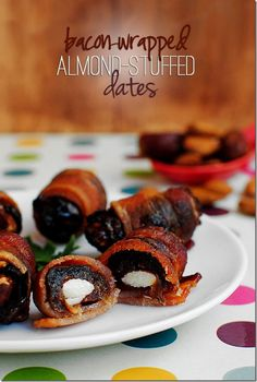 Bacon Wrapped Almond Stuffed Dates #appetizer #party @Iowa Girl Eats | Iowagirleats.com
