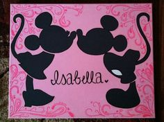 Mickey & Minnie Mouse silhouette canvas, found on etsy (: