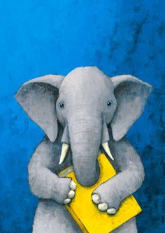 Elephant with a yellow book