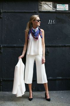 ivory culottes with white top and chic scarf