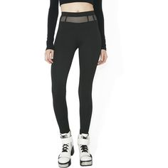 Mesh Waist Black Leggings ($50) ❤ liked on Polyvore featuring pants, leggings, high waisted mesh leggings, mesh-panel leggings, high-waisted trousers, high-rise leggings and high waisted leggings