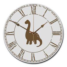 Wanduhr rund Dinosaurier Langhals aus MDF  Weiß - Das Original von Mr. & Mrs. Panda.  Eine wunderschöne runde Wanduhr aus hochwertigem MDF Holz mit goldenen Zeigern und absolut lautlosem Uhrwerk    Über unser Motiv Dinosaurier Langhals  Langhalsdinosaurier, auch Sauropoden genannt, sollen vor 65 Millionen Jahren durch einen Meteoritenabsturz auf die Erde ausgestorben sein. Langhalssaurier waren friedliche Pflanzenfresser. Knochenfunden zufolge soll er der größte Dinosaurier gewesen sein. Der…