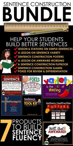 Help your students add variety to their writing with this bundle of activities that work on sentence fluency.