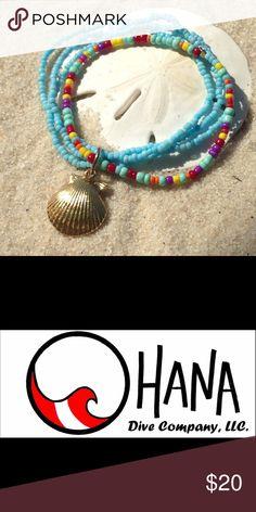 Hand dipped gold seashell and turquoise bracelet Stretchy fun hand beaded bracelet with a boho feel. I hand dipped the seashell in gold. Beach fun. Mermaid fun. The Ohana Dive Company Jewelry Bracelets