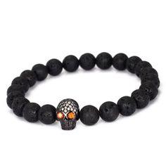 Fashion-Mens-Lava-Stone-Micro-Pave-Zircon-Skull-Beads-Beaded-Elastic-Bracelet