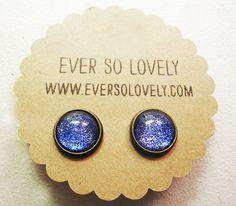 dark navy blue metallic earrings - summer nights and starry skies  - handmade sparkly metallic nickel free post earrings on Etsy, $25.00