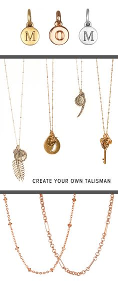NEW Rose gold chains and initial charms in Antique Gold, Silver or Rose! Customize a Talisman with a unique combination of charms that express your personality and style, bringing you meaningful positive energy every time you wear it!