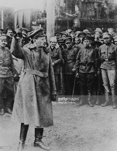 Russian Communist Leon Trotsky (1879-1940) speaking to Red Army troops in 1925.