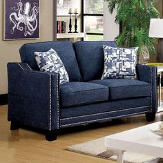 Kerian Blue Loveseat - CM6157BL-LV Description : Sleek design, flawless style and plush comfort are all wrapped into one amazing package with this stunning sofa set. Upholstered in a padded chenille f