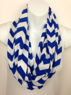 Royal Blue and White Chevron Jersey Knit Infinity Scarf         $15.00                                                     ...