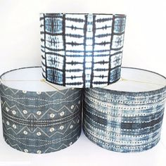 Handmade Drum Lamp Shade in Tribal Indigo African by INDIEbungalow