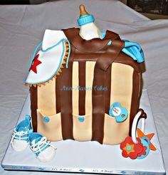 Little Man's Diaper bag cake Pretty Cakes, Beautiful Cakes, Amazing Cakes, Fondant Cakes, Cupcake Cakes, Cupcakes, Diaper Bag Cake, Shoe Box Cake, Biscuits