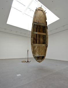 Rayyane Tabet, Cyprus, 2015. Wooden boat, steel anchor, pulleys, rope and hardware. Commissioned by Sharjah Art Foundation