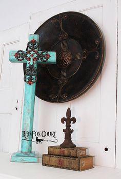 Rustikale Holzkreuz große Kreuz stehend von RedFoxCourt auf Etsy