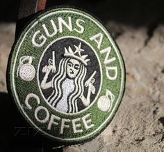2.5 x 2.5 pvc rubber morale patch guns and coffee green badge hook loop freeship