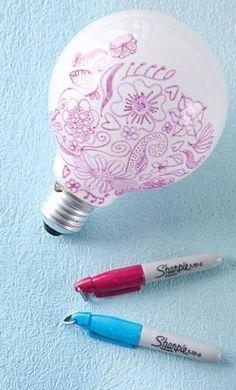 Als je de lamp aan doet, krijg je je tekening op de muur!