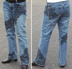 Using only a black Sharpie marker and a little imagination, I turned an ordinary pair of Gap jeans into a conversation piece. Swirled designs wrap around front and back. And yes, they're completely washable!  http://www.facebook.com/pages/Suzi-Homefaker/157277567665756