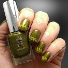 AEngland Fotheringhay Castle and UberChic Beauty stamping using Mundo de Unas Ocre