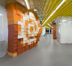 Yandex Saint Petersburg Offices furnished like the desktop of a computer, with pixellated backgrounds and huge icons | Za Bor Architects | St. Petersburg, Russia