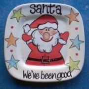 Handpainted Plate - Santa's Cookies Plate Square