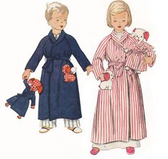 Toddler 3T Bathrobe & Matching Stuffed Dog In Robe Simplicity Sewing Pattern by TheOldLeaf, $4.49 #VintagePattern #KidsClothes