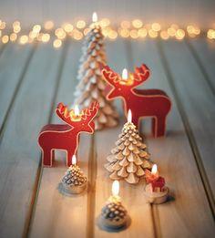 The cutest little Christmas candles! Swedish Christmas Decorations, Christmas Mood, Noel Christmas, Merry Little Christmas, Christmas Candles, Scandinavian Christmas, Holiday Decorations, Candle Decorations, Modern Christmas