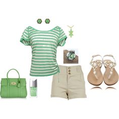 A fashion look from January 2012 featuring green t shirt, short shorts and leather sandals. White Converse, Khaki Shorts, To My Daughter, Style Me, Stripes, Stylish, My Love, Green, Summer