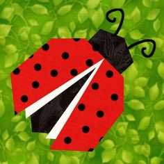 Ladybug Paper Pieced Quilt Block Pattern